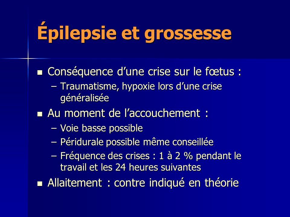 Épilepsie et grossesse Conséquence dune crise sur le fœtus : Conséquence dune crise sur le fœtus : –Traumatisme, hypoxie lors dune crise généralisée A