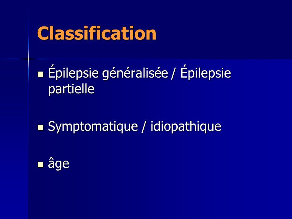 Classification Épilepsie généralisée / Épilepsie partielle Épilepsie généralisée / Épilepsie partielle Symptomatique / idiopathique Symptomatique / id