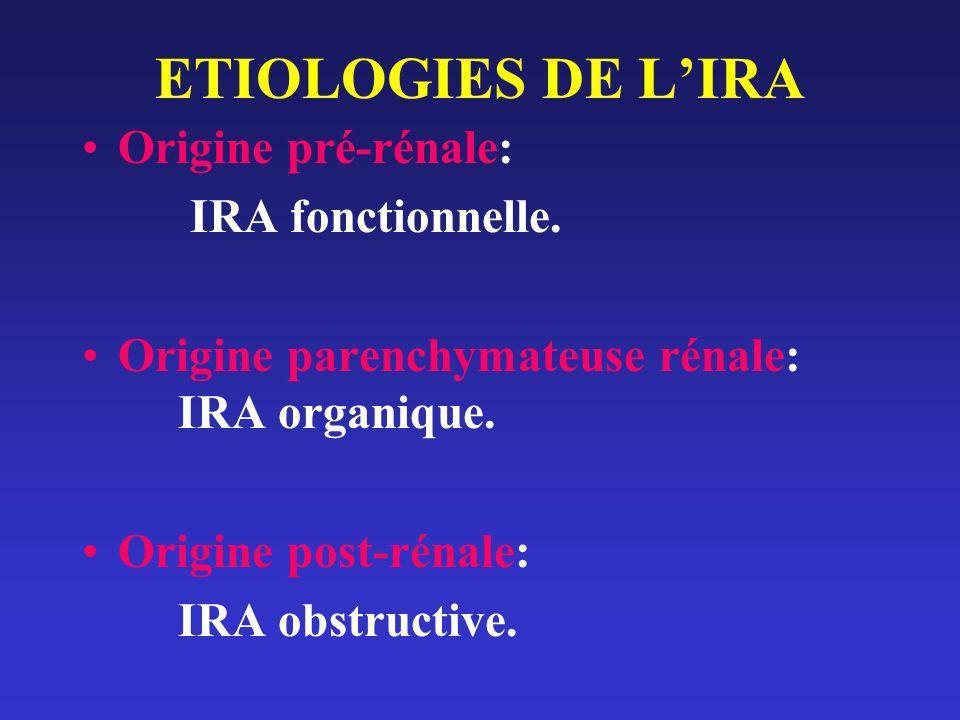 ETIOLOGIES DE LIRA Origine pré-rénale: IRA fonctionnelle. Origine parenchymateuse rénale: IRA organique. Origine post-rénale: IRA obstructive.
