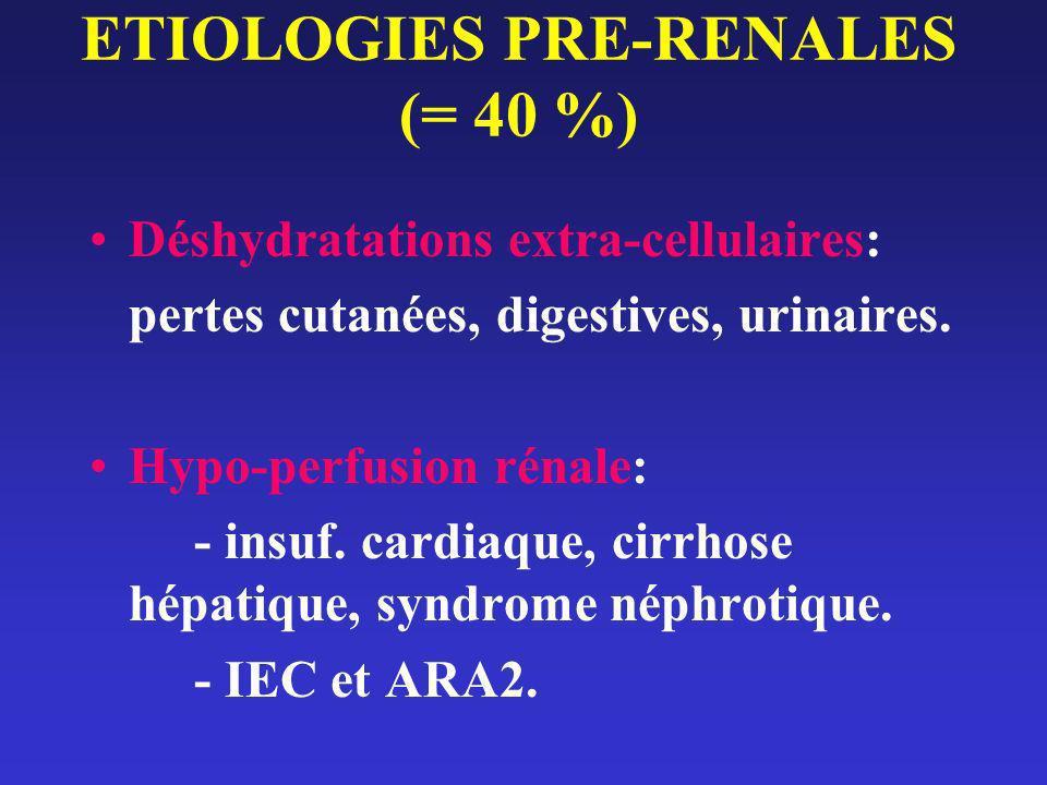 ETIOLOGIES PRE-RENALES (= 40 %) Déshydratations extra-cellulaires: pertes cutanées, digestives, urinaires. Hypo-perfusion rénale: - insuf. cardiaque,