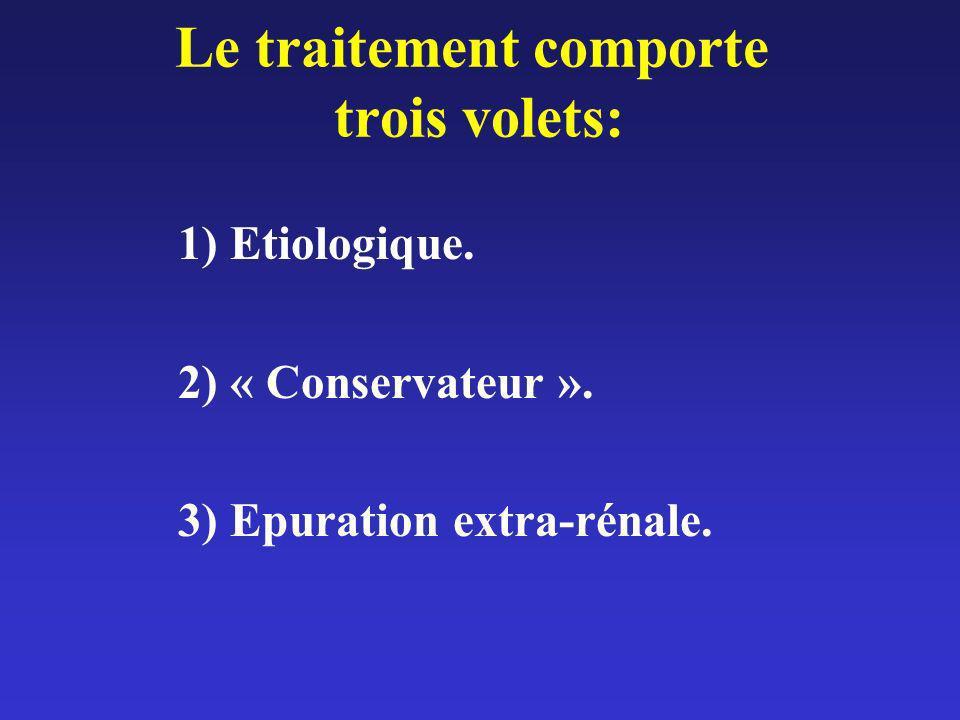 Le traitement comporte trois volets: 1) Etiologique. 2) « Conservateur ». 3) Epuration extra-rénale.