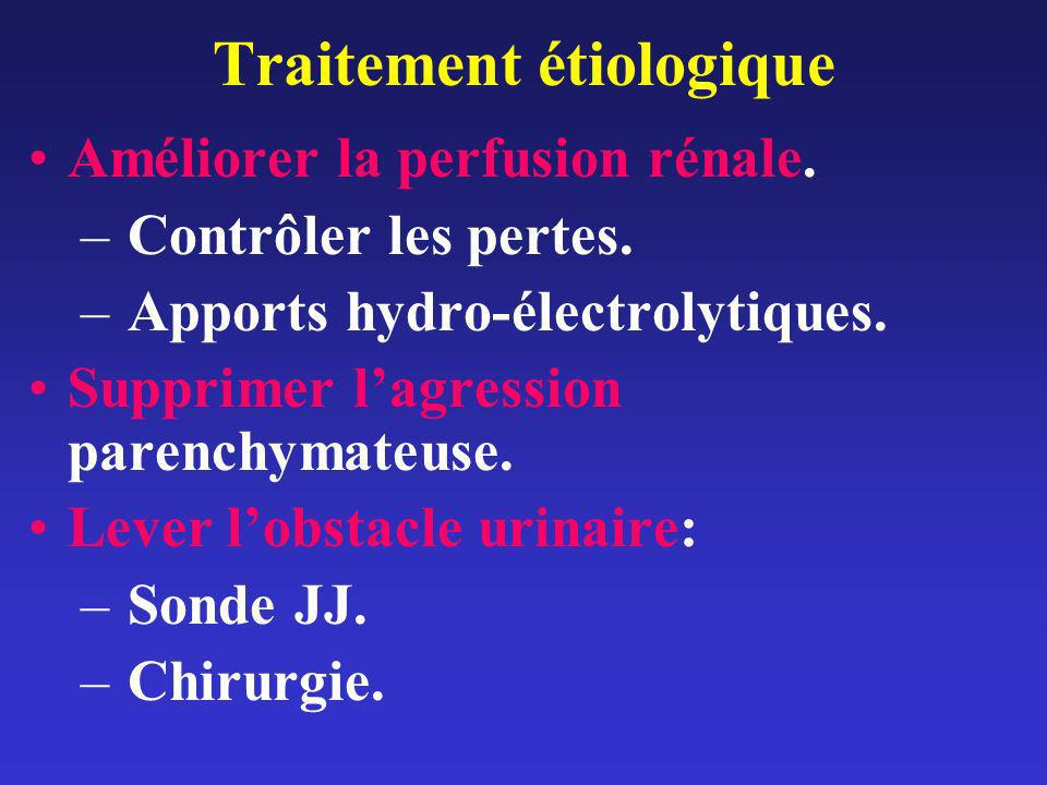 Traitement étiologique Améliorer la perfusion rénale. – Contrôler les pertes. – Apports hydro-électrolytiques. Supprimer lagression parenchymateuse. L