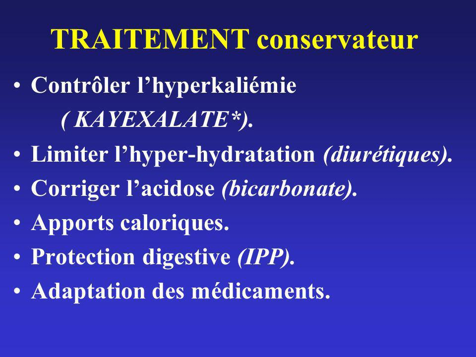 TRAITEMENT conservateur Contrôler lhyperkaliémie ( KAYEXALATE*). Limiter lhyper-hydratation (diurétiques). Corriger lacidose (bicarbonate). Apports ca