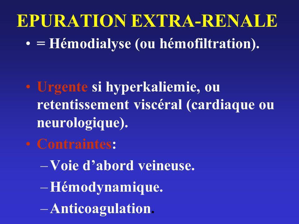 EPURATION EXTRA-RENALE = Hémodialyse (ou hémofiltration). Urgente si hyperkaliemie, ou retentissement viscéral (cardiaque ou neurologique). Contrainte