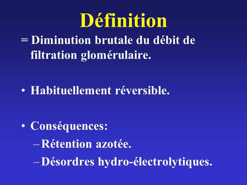 Définition = Diminution brutale du débit de filtration glomérulaire. Habituellement réversible. Conséquences: –Rétention azotée. –Désordres hydro-élec