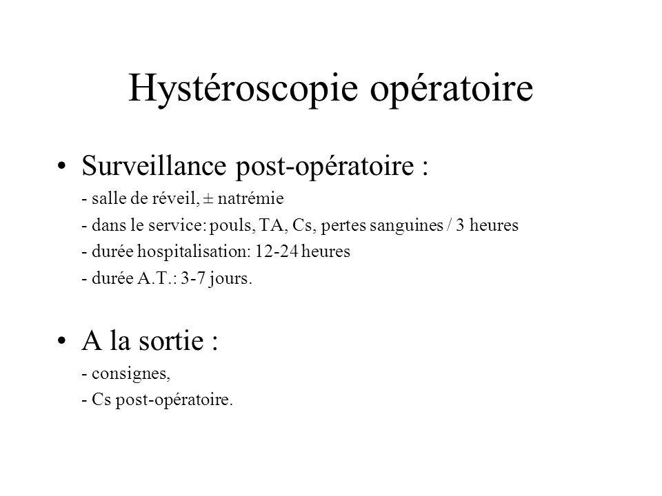 Hystéroscopie opératoire Surveillance post-opératoire : - salle de réveil, ± natrémie - dans le service: pouls, TA, Cs, pertes sanguines / 3 heures -