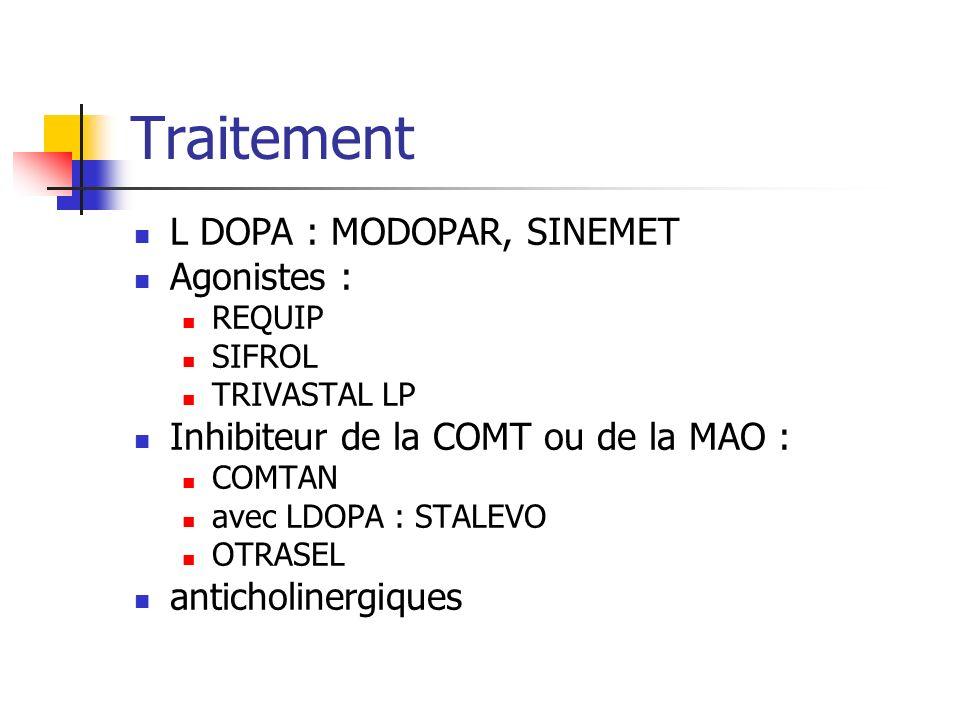 Traitement L DOPA : MODOPAR, SINEMET Agonistes : REQUIP SIFROL TRIVASTAL LP Inhibiteur de la COMT ou de la MAO : COMTAN avec LDOPA : STALEVO OTRASEL a