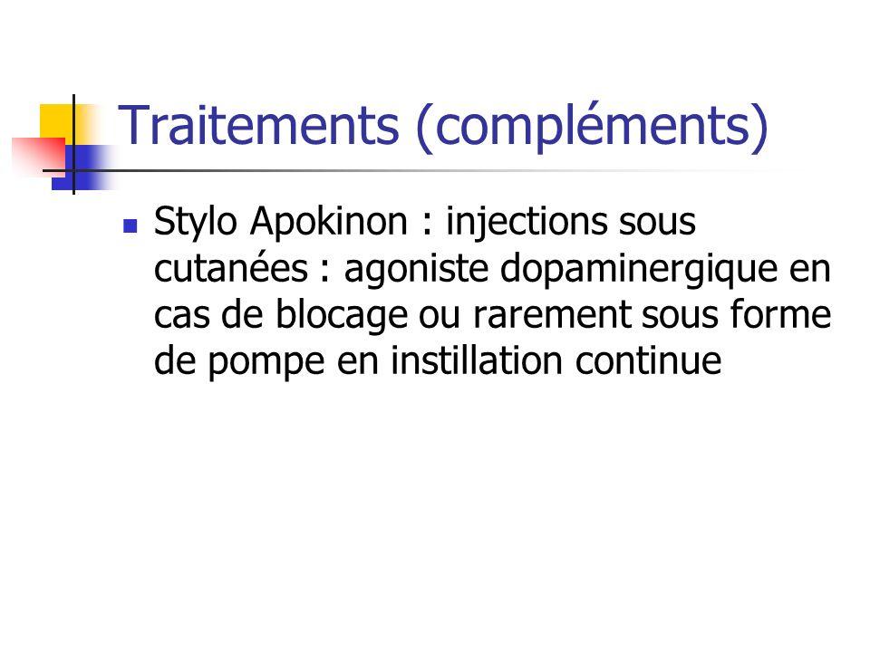 Traitements (compléments) Stylo Apokinon : injections sous cutanées : agoniste dopaminergique en cas de blocage ou rarement sous forme de pompe en ins
