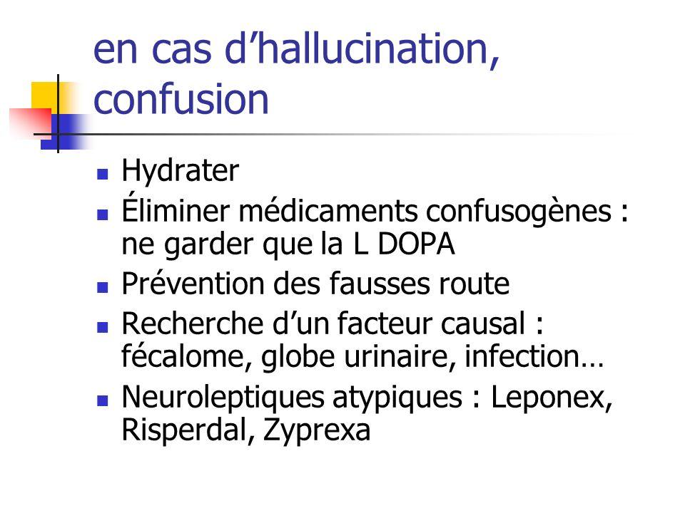 en cas dhallucination, confusion Hydrater Éliminer médicaments confusogènes : ne garder que la L DOPA Prévention des fausses route Recherche dun facte
