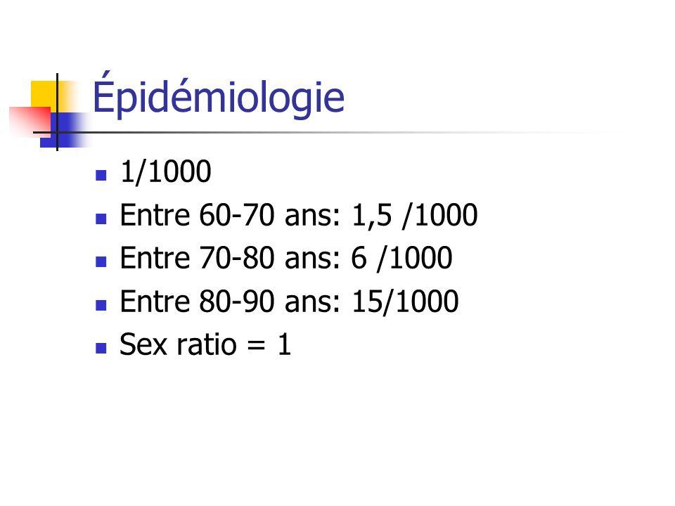Épidémiologie 1/1000 Entre 60-70 ans: 1,5 /1000 Entre 70-80 ans: 6 /1000 Entre 80-90 ans: 15/1000 Sex ratio = 1