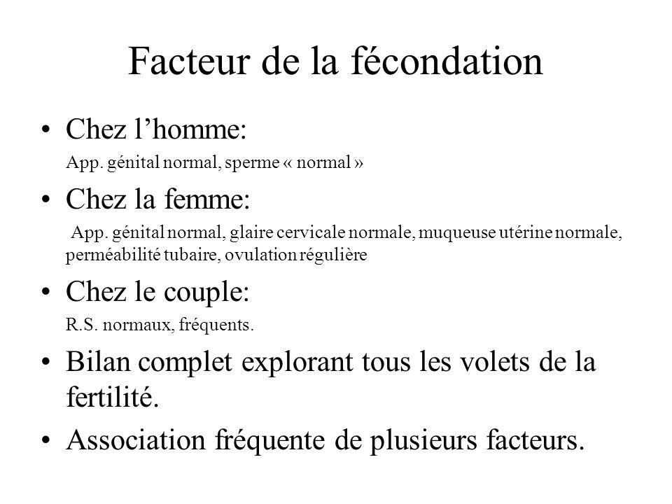 Facteur de la fécondation Chez lhomme: App.génital normal, sperme « normal » Chez la femme: App.