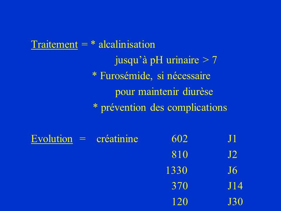 Traitement = * alcalinisation jusquà pH urinaire > 7 * Furosémide, si nécessaire pour maintenir diurèse * prévention des complications Evolution = cré
