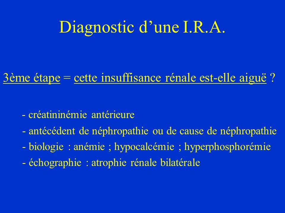 Diagnostic dune I.R.A. 3ème étape = cette insuffisance rénale est-elle aiguë ? - créatininémie antérieure - antécédent de néphropathie ou de cause de