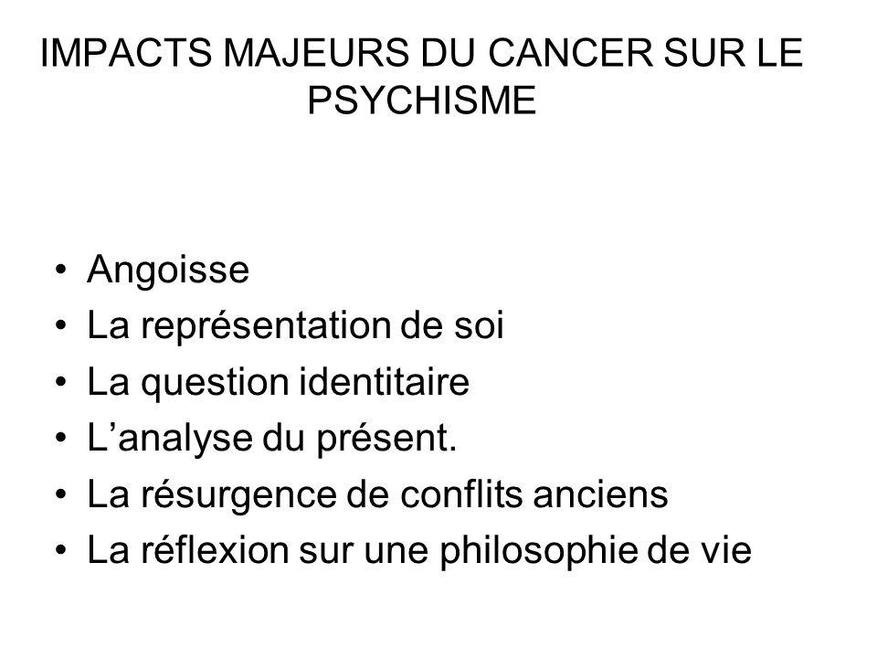 IMPACTS MAJEURS DU CANCER SUR LE PSYCHISME (2) La prise en compte de sa propre finitude La question du temps La mort La condition humaine.