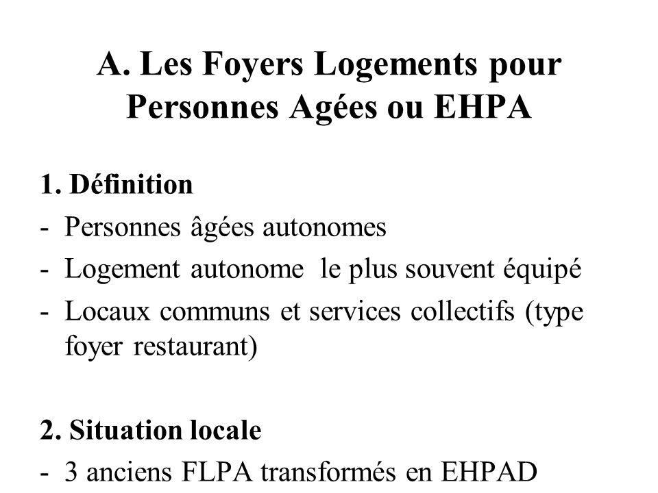 A. Les Foyers Logements pour Personnes Agées ou EHPA 1.