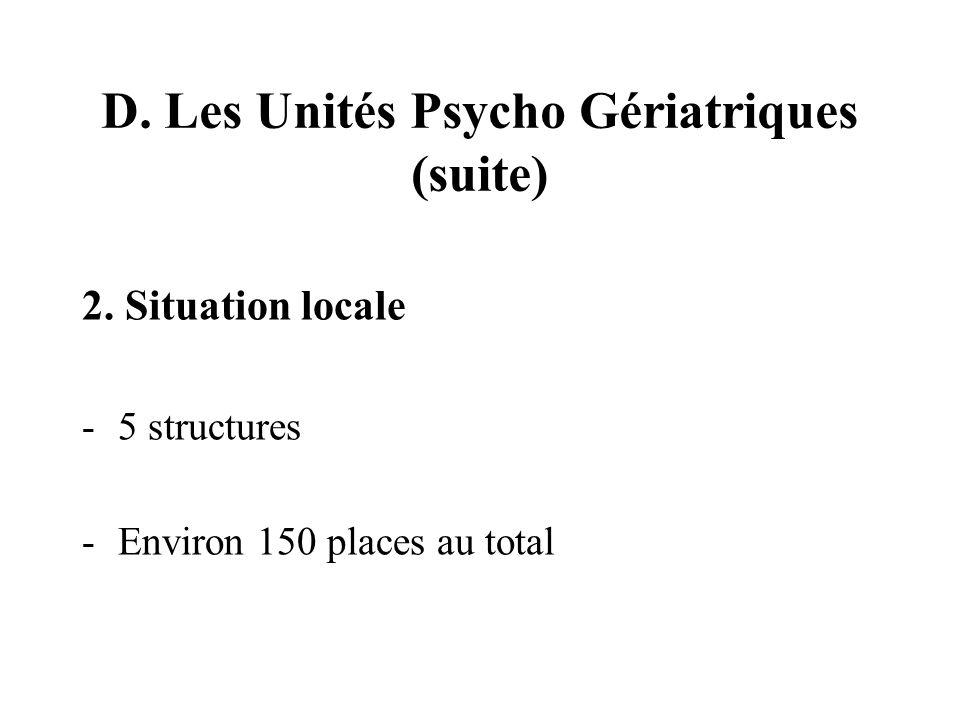 D. Les Unités Psycho Gériatriques (suite) 2.