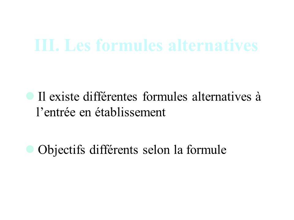 III. Les formules alternatives Il existe différentes formules alternatives à lentrée en établissement Objectifs différents selon la formule