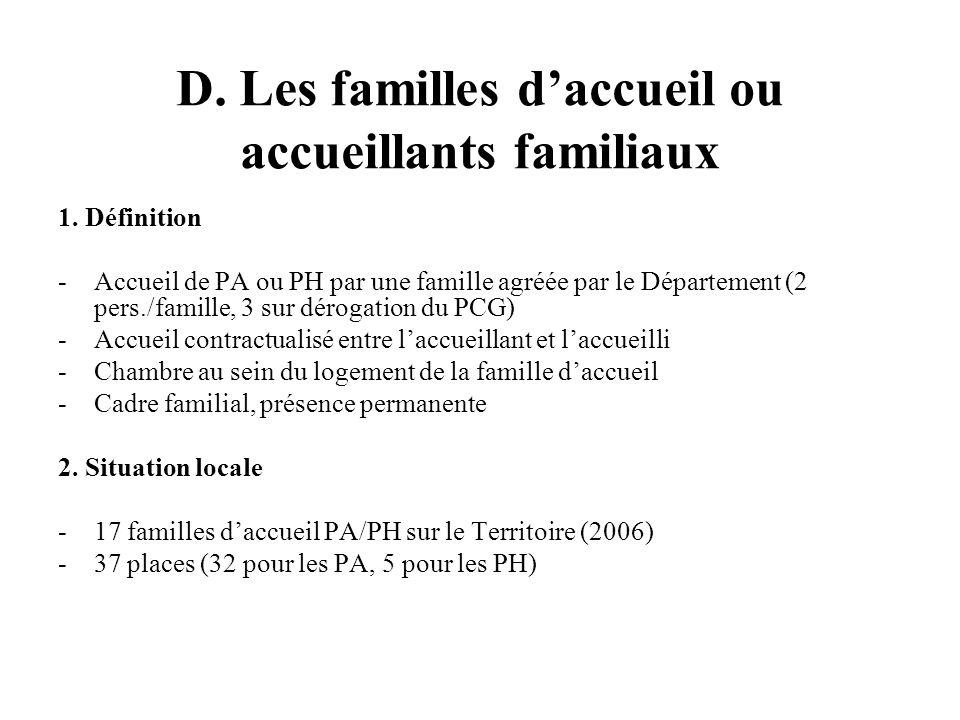 D. Les familles daccueil ou accueillants familiaux 1.
