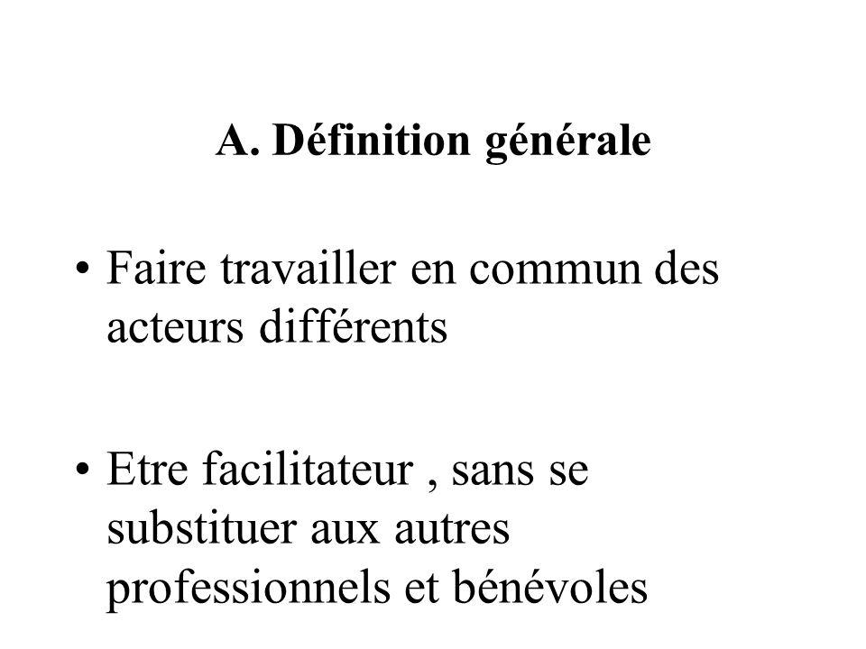 A. Définition générale Faire travailler en commun des acteurs différents Etre facilitateur, sans se substituer aux autres professionnels et bénévoles