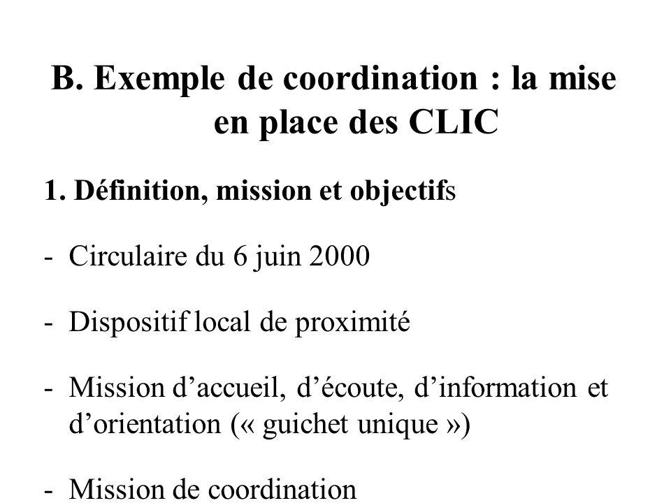 B. Exemple de coordination : la mise en place des CLIC 1.