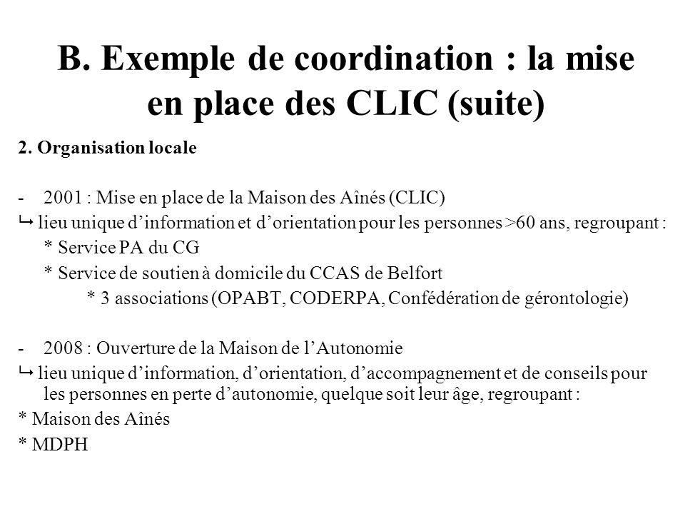 B. Exemple de coordination : la mise en place des CLIC (suite) 2.