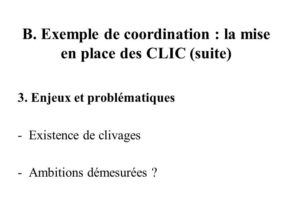 B. Exemple de coordination : la mise en place des CLIC (suite) 3.