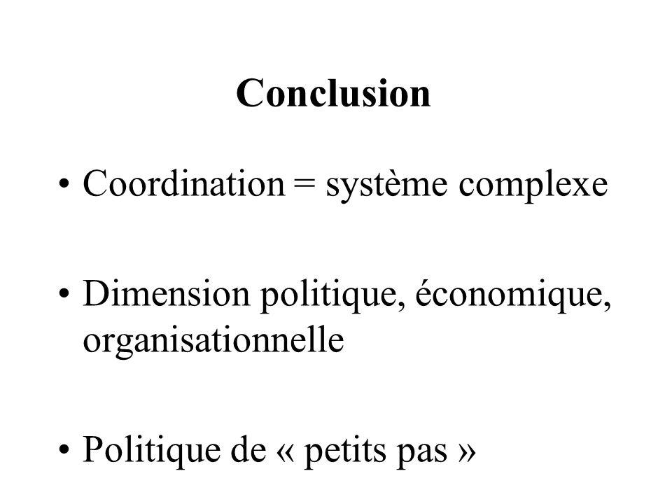 Conclusion Coordination = système complexe Dimension politique, économique, organisationnelle Politique de « petits pas »