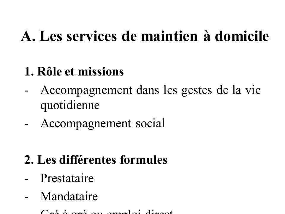 A. Les services de maintien à domicile 1.