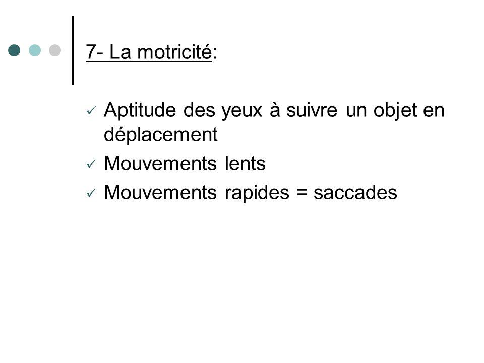 7- La motricité: Aptitude des yeux à suivre un objet en déplacement Mouvements lents Mouvements rapides = saccades