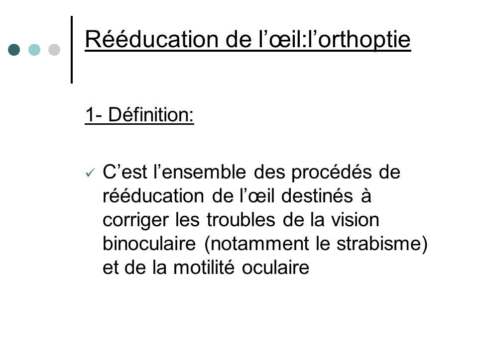 Rééducation de lœil:lorthoptie 1- Définition: Cest lensemble des procédés de rééducation de lœil destinés à corriger les troubles de la vision binocul