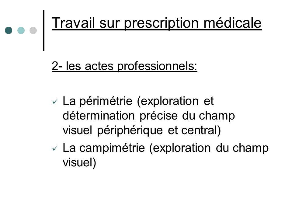 Travail sur prescription médicale 2- les actes professionnels: La périmétrie (exploration et détermination précise du champ visuel périphérique et cen