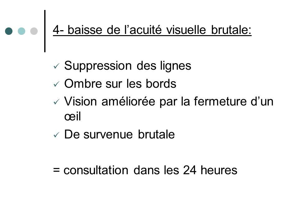 4- baisse de lacuité visuelle brutale: Suppression des lignes Ombre sur les bords Vision améliorée par la fermeture dun œil De survenue brutale = cons