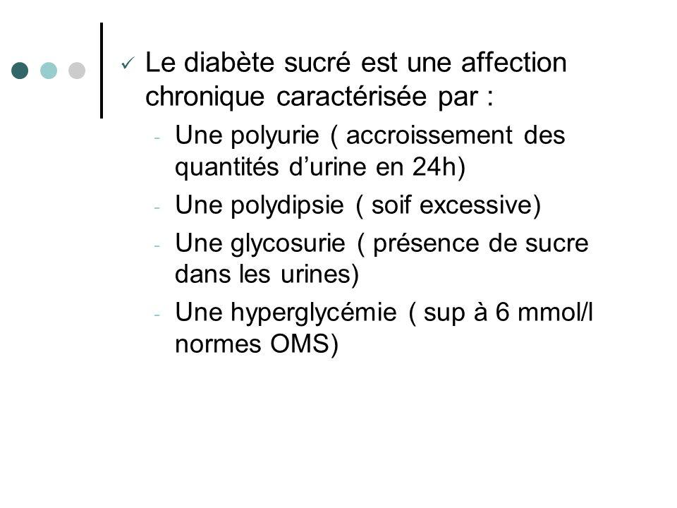 Le diabète sucré est une affection chronique caractérisée par : - Une polyurie ( accroissement des quantités durine en 24h) - Une polydipsie ( soif ex