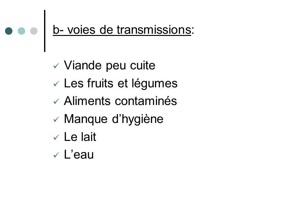 b- voies de transmissions: Viande peu cuite Les fruits et légumes Aliments contaminés Manque dhygiène Le lait Leau