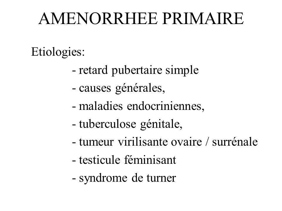 AMENORRHEE PRIMAIRE Etiologies: - retard pubertaire simple - causes générales, - maladies endocriniennes, - tuberculose génitale, - tumeur virilisante