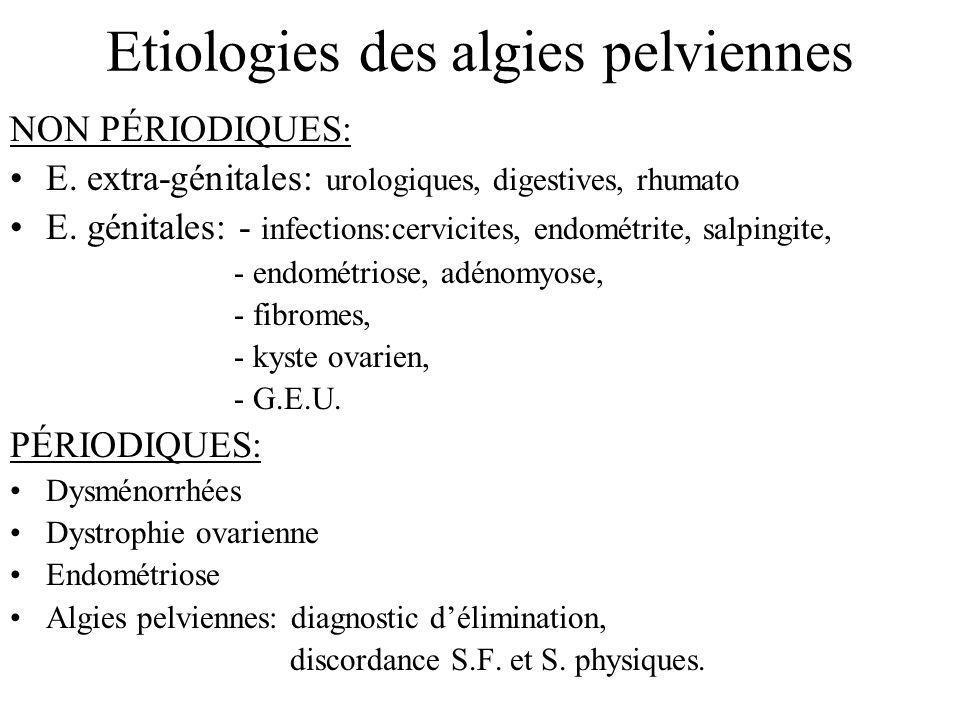 Etiologies des algies pelviennes NON PÉRIODIQUES: E. extra-génitales: urologiques, digestives, rhumato E. génitales: - infections:cervicites, endométr