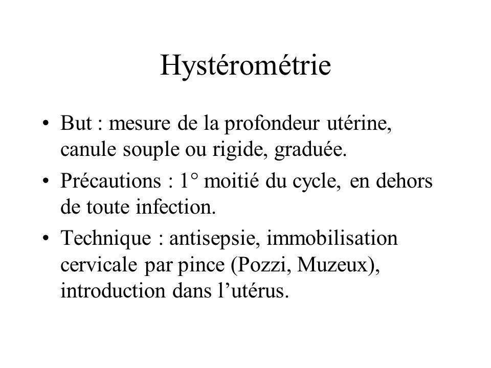 Hystérométrie But : mesure de la profondeur utérine, canule souple ou rigide, graduée. Précautions : 1° moitié du cycle, en dehors de toute infection.