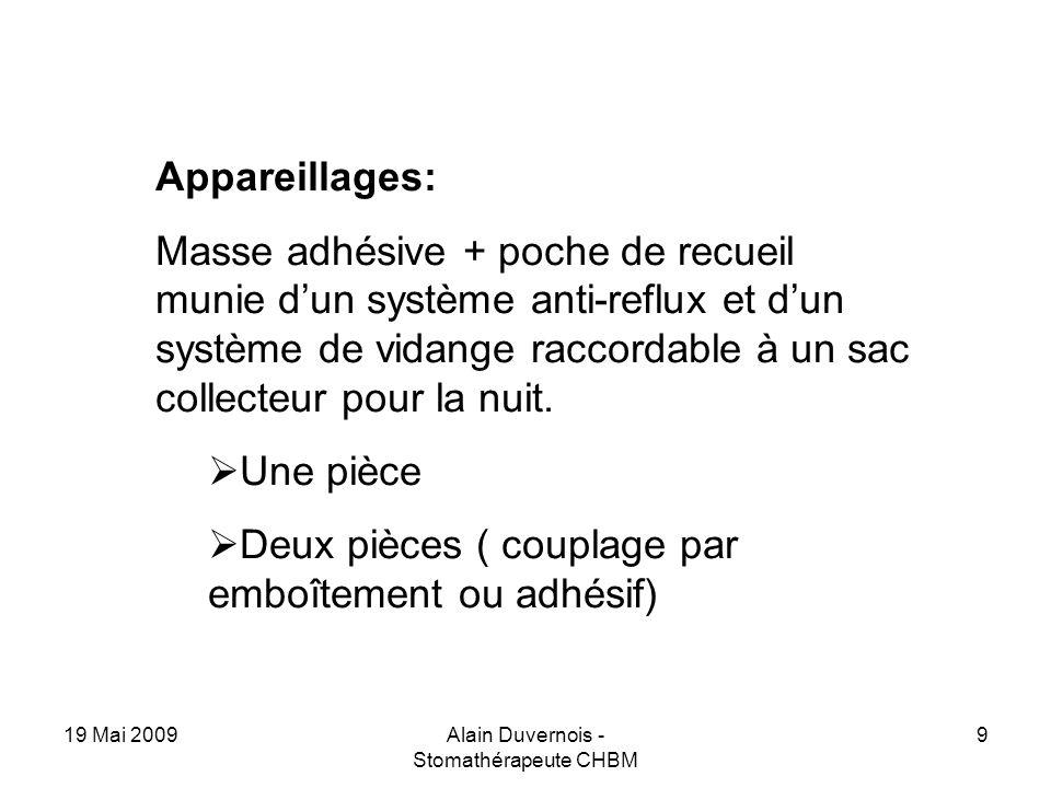 19 Mai 2009Alain Duvernois - Stomathérapeute CHBM 9 Appareillages: Masse adhésive + poche de recueil munie dun système anti-reflux et dun système de v