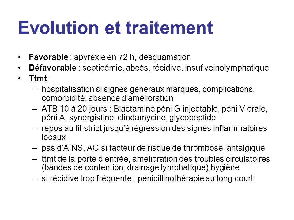 Evolution et traitement Favorable : apyrexie en 72 h, desquamation Défavorable : septicémie, abcès, récidive, insuf veinolymphatique Ttmt : –hospitali