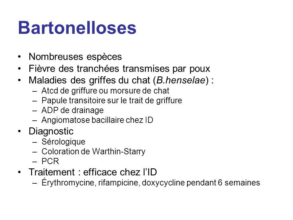 Bartonelloses Nombreuses espèces Fièvre des tranchées transmises par poux Maladies des griffes du chat (B.henselae) : –Atcd de griffure ou morsure de