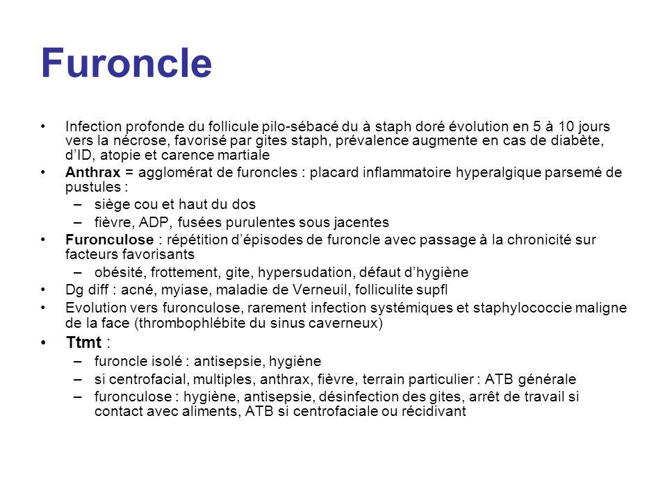 Furoncle Infection profonde du follicule pilo-sébacé du à staph doré évolution en 5 à 10 jours vers la nécrose, favorisé par gites staph, prévalence a