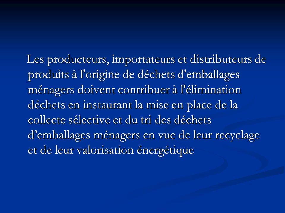 Les producteurs, importateurs et distributeurs de produits à l'origine de déchets d'emballages ménagers doivent contribuer à l'élimination déchets en