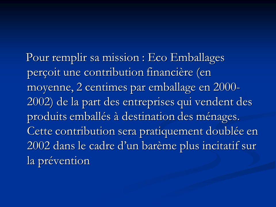 Pour remplir sa mission : Eco Emballages perçoit une contribution financière (en moyenne, 2 centimes par emballage en 2000- 2002) de la part des entre