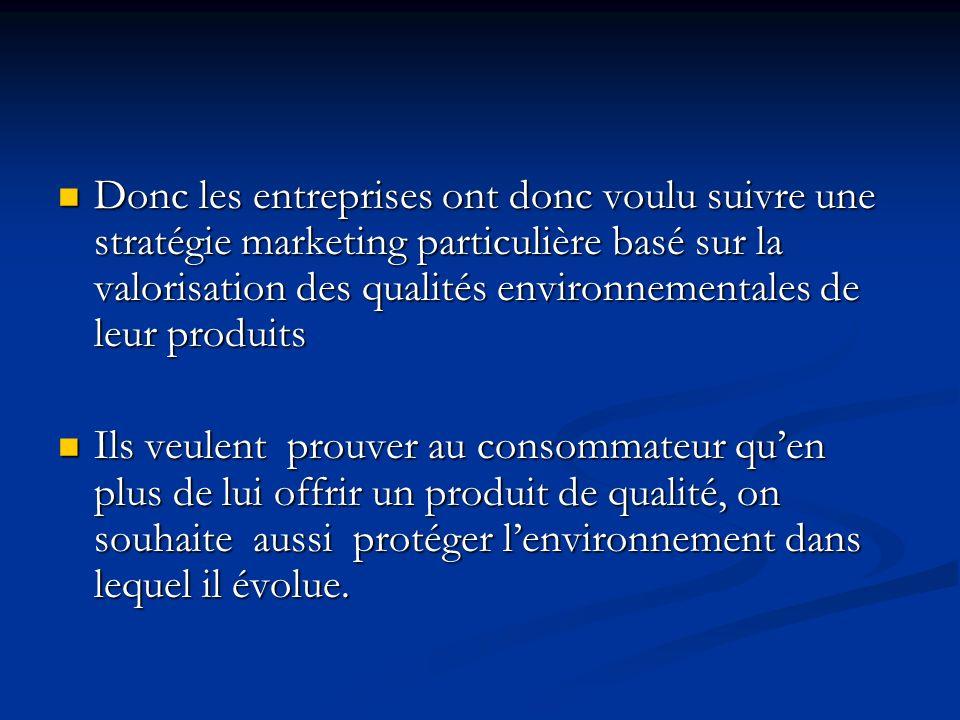 Donc les entreprises ont donc voulu suivre une stratégie marketing particulière basé sur la valorisation des qualités environnementales de leur produi