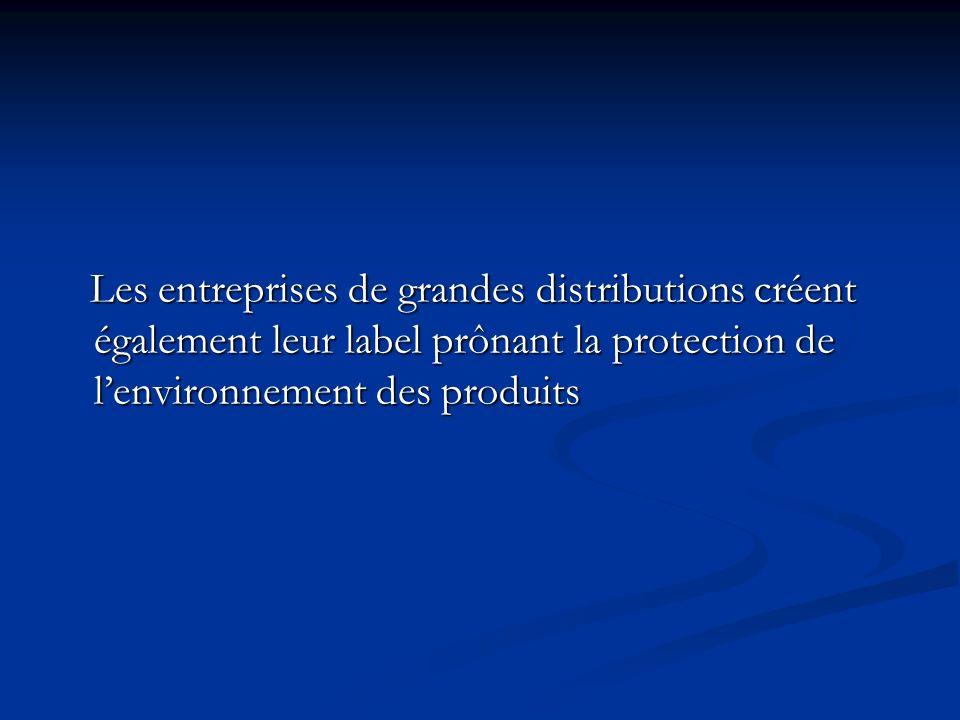 Les entreprises de grandes distributions créent également leur label prônant la protection de lenvironnement des produits Les entreprises de grandes d