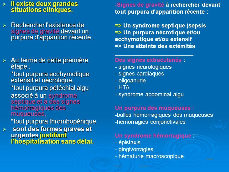 Si une situation d urgence est écartée, l examen clinique doit ensuite préciser : Si une situation d urgence est écartée, l examen clinique doit ensuite préciser : - les caractéristiques sémiologiques du purpura : caractère maculeux ou au contraire infiltré ; caractère maculeux ou au contraire infiltré ; localisation aux membres inférieurs ou lésions disséminées ; localisation aux membres inférieurs ou lésions disséminées ; isolé ou associé à d autres lésions cutanées polymorphes : vésicules, pustules, bulles, nécrose ; isolé ou associé à d autres lésions cutanées polymorphes : vésicules, pustules, bulles, nécrose ; - les signes cliniques extracutanés associés au purpura : altération de l état général ; altération de l état général ; syndrome tumoral hématopoïétique (hépatomégalie, splénomégalie, adénopathies périphériques) ; syndrome tumoral hématopoïétique (hépatomégalie, splénomégalie, adénopathies périphériques) ; signes systémiques (phénomène de Raynaud, manifestations articulaires, respiratoires, neurologiques, etc.).