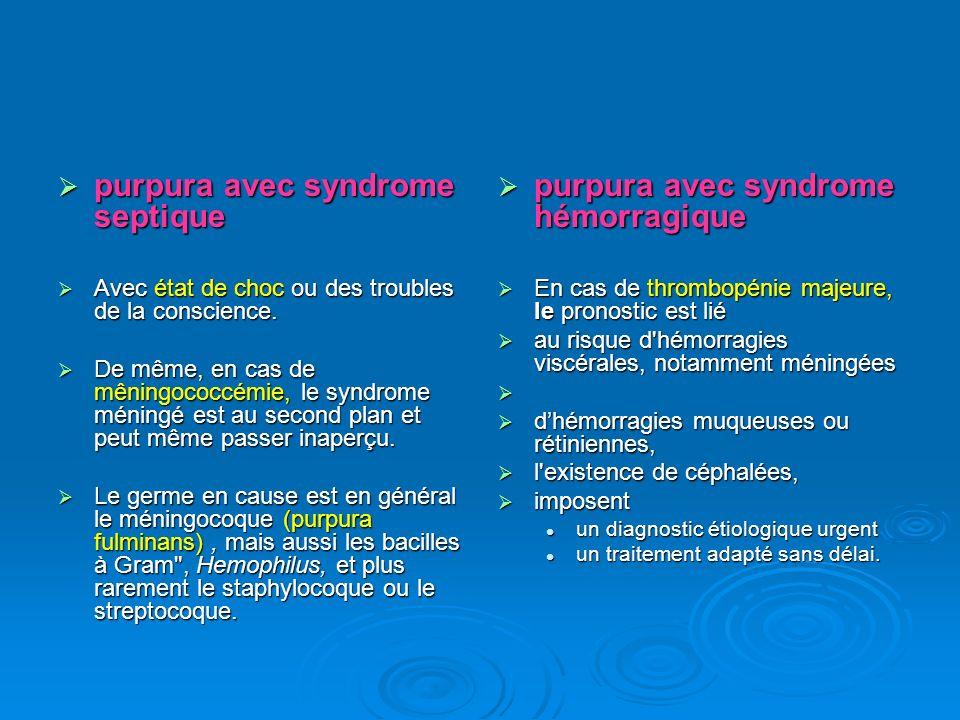 Orientation diagnostique en dehors de l urgence Orientation diagnostique en dehors de l urgence La réalisation d une numération des plaquettes, associée aux caractéristiques cliniques, permet habituellement de distinguer : La réalisation d une numération des plaquettes, associée aux caractéristiques cliniques, permet habituellement de distinguer : - les purpuras hématologiques : essentiellement par thrombopénie ; - les purpuras hématologiques : essentiellement par thrombopénie ; - les purpuras vasculaires : - les purpuras vasculaires : par atteinte pariétale (vasculites, capillarites) ; par atteinte pariétale (vasculites, capillarites) ; par atteinte intraluminale (thrombi intracapillaires).