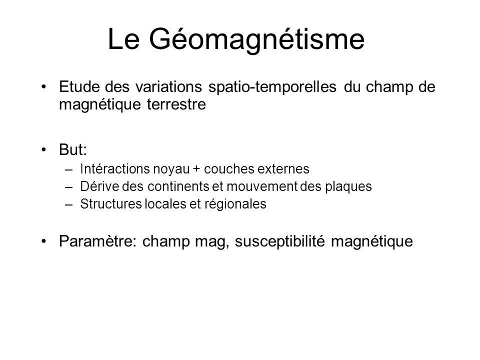 Le Géomagnétisme Etude des variations spatio-temporelles du champ de magnétique terrestre But: –Intéractions noyau + couches externes –Dérive des cont