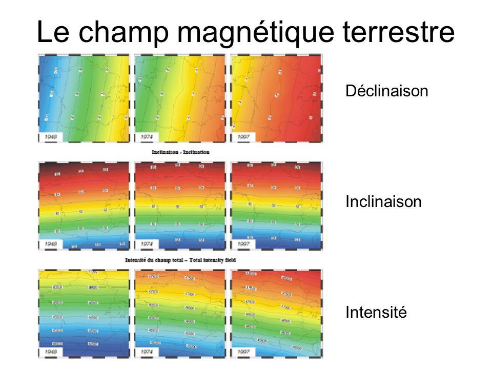 Le champ magnétique terrestre Déclinaison Inclinaison Intensité
