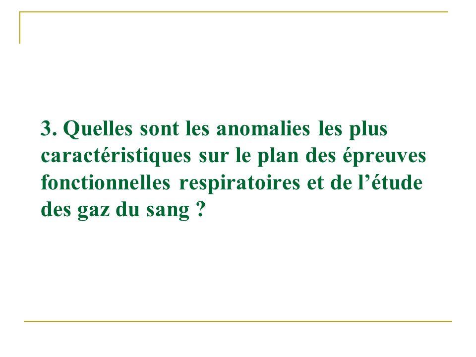 3. Quelles sont les anomalies les plus caractéristiques sur le plan des épreuves fonctionnelles respiratoires et de létude des gaz du sang ?